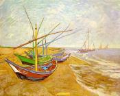 Vincent Van Gogh : Fishing Boats on the Beach at Saintes-Maries